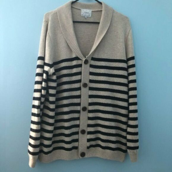 Topman Britian Cream Navy Striped Cardigan Sweater